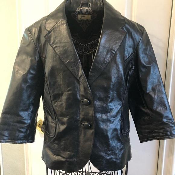 June Jackets & Blazers - black moto leather 3/4 sleeve blazer size M